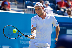 LIVERPOOL, ENGLAND - Saturday, June 17, 2017: Steve Darcis (BEL) during Day Three of the Liverpool Hope University International Tennis Tournament 2017 at the Liverpool Cricket Club. (Pic by David Rawcliffe/Propaganda)