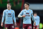 Matt Targett (18) of Aston Villa and Jack Grealish (10) of Aston Villa during the Premier League match between Bournemouth and Aston Villa at the Vitality Stadium, Bournemouth, England on 1 February 2020.