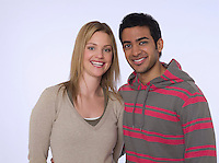 Portrait of young man and woman studio shot