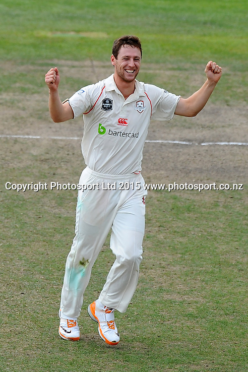 Canterbury player Matt Henry celebrates the wicket of Central player Tom Bruce during their Plunket Shield match Central Stags v Canterbury at Saxton Oval, Nelson, New Zealand. Friday 20 March 2015. Copyright Photo: Chris Symes / www.photosport.co.nz