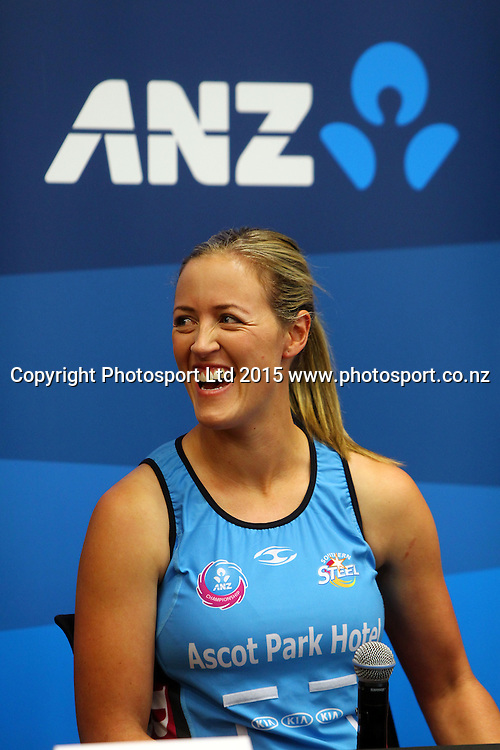 Southern Steel captain Wendy Frew, ANZ Championship netball season launch, ANZ Building, Auckland. Tuesday 17 February 2015. Copyright Photo: William Booth / www.photosport.co.nz