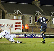 Martin Boyle's effort is blocked by Dougie Hill - Dundee claimed it was handball by the Raith defender - Raith Rovers v Dundee,  SPFL Championship at Starks Park<br /> <br />  - &copy; David Young - www.davidyoungphoto.co.uk - email: davidyoungphoto@gmail.com