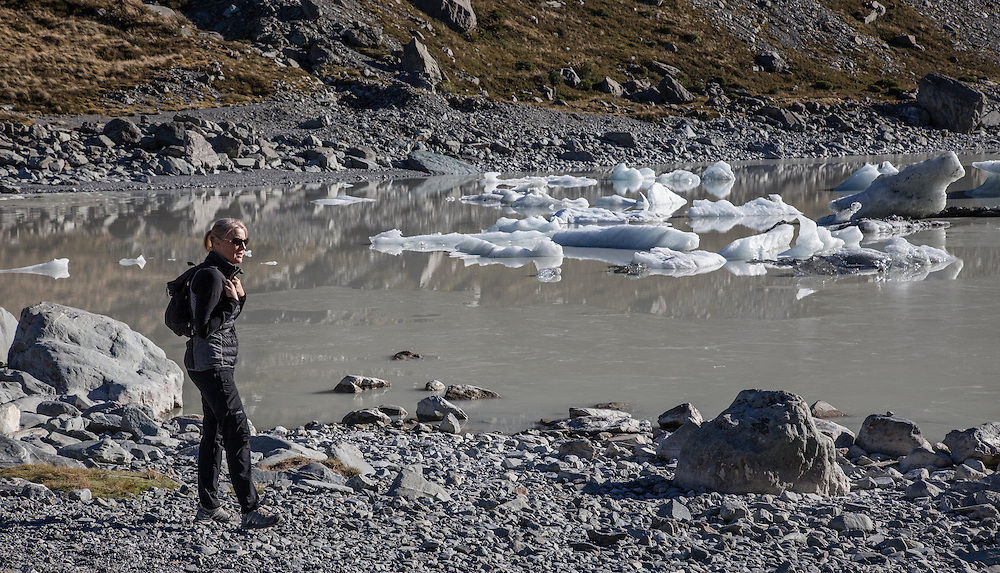 Hooker Lake, iced over for the most part and full of glacier chunks