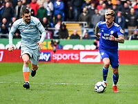 Football - 2018 / 2019 Premier League - Cardiff City vs. Chelsea<br /> <br /> Joe Bennett of Cardiff City on the attack, at Cardiff City Stadium.<br /> <br /> COLORSPORT/WINSTON BYNORTH