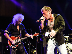 "© Licensed to London News Pictures. 16/09/2012. London, UK.  Brian May and Bruce Dickinson perform at The Sunflower Jam at the Royal Albert Hall.  Brian May is a founding member and guitarist of Queen, and Bruce Dickinson is a founder member and singer of Iron Maiden.  The Sunflower Jam is a British charity, founded by Jacky Paice, wife of Deep Purple drummer, Ian Paice. Other high-profile supporters are the actor Jeremy Irons, ex-Jamiroquai bassist Nick Fyffe and Charles, Prince of Wales. The aims of the charity are to fund complementary therapists and spiritual healers to work on cancer wards in the British National Health Service. After setting up a meeting between members of Deep Purple and a young boy dying of leukemia, Paice saw ""all the good work the healers were doing"" and decided ""lets find a way to raise money to get more healers in there. Photo credit : Richard Isaac/LNP"