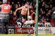 Goal scorer Stoke City forward Jonathan Walters hands his shirt to the Stoke City fans during the The FA Cup third round match between Doncaster Rovers and Stoke City at the Keepmoat Stadium, Doncaster, England on 9 January 2016. Photo by Simon Davies.
