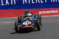 """MONTEREY, CA - AUGUST 18:  James King drives a 1960 Ewing-Watson """"Joe Hunt Magneto Special"""" during the Monterey Historic Automobile Races 1927-1950 racing-car race at the at the Mazda Raceway Laguna Seca on August 18, 2007 in Monterey, California.  (Photo by David Paul Morris)"""