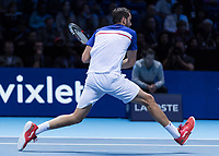 Tennis - 2017 Nitto ATP Finals at The O2 - Day One<br /> <br /> Group Boris Becker Singles: Alexander Zverev (Germany) Vs Marin Cilic (Croatia)<br /> <br /> The long legs of Marin Cilic (Croatia) help him to cover the court at the O2 Arena<br /> <br /> COLORSPORT/DANIEL BEARHAM