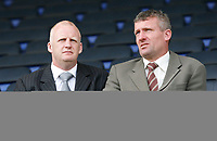 Photo: Steve Bond.<br />Leicester City v Derby County. Coca Cola Championship. 06/04/2007. Coventry Manager Team Iain Dowie (L) and Tim Flowers (R) spy out Derby v Coventry