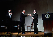 "A 28 MG IMAGE OF:. October 16,  1978:  The ""Framework for Peace "" was signed after a 13 day  conference at Camp David.  President Jimmy Carter toasts Israeli Prime Minister  Menachem Begin and  Eqgypt's President Anwar Sadat.  Photo by Dennis Brack"