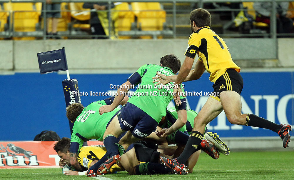 Hurricanes' Cory Jane scores during the 2012 Super Rugby season, Hurricanes v Highlanders at Westpac Stadium, Wellington, New Zealand on Saturday 17 March 2012. Photo: Justin Arthur / Photosport.co.nz