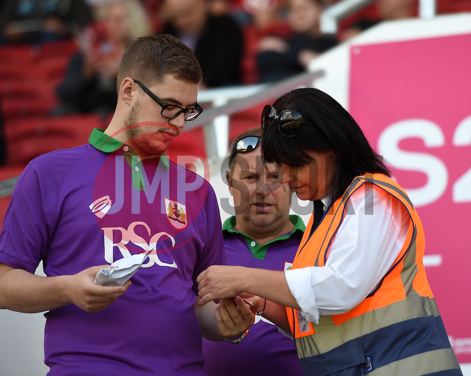 Bristol City supporters are guided to their seats on the opening day of the South Stand at Ashton Gate - Mandatory by-line: Paul Knight/JMP - Mobile: 07966 386802 - 15/08/2015 -  FOOTBALL - Ashton Gate Stadium - Bristol, England -  Bristol City v Brentford - Sky Bet Championship
