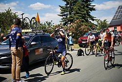 Anouska Koster (NED) rehydrates after a warm day at Lotto Thüringen Ladies Tour 2019 - Stage 3, a 97.8 km road race in Dörtendorf, Germany on May 30, 2019. Photo by Sean Robinson/velofocus.com