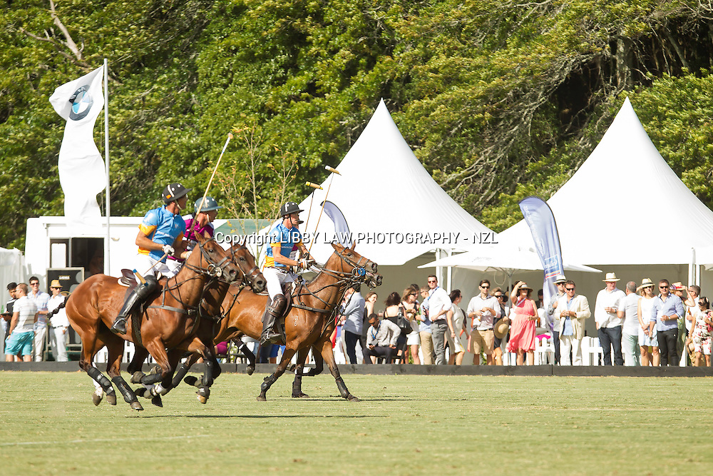 2014 TITLE WINNERS: RODD & GUNN: Ross George; Ross Ainsley; Sam Hopkinson; Glenn Sherriff: FINAL-GAME: Rodd & Gunn (Maroon) vs Tiger Building (Blue): RODD & GUNN WIN: 11/10 - 2014 NZL-BMW Polo Open: Clevedon - PRIZEGIVING: CREDIT: Libby Law/Photosport COPYRIGHT: LIBBY LAW PHOTOGRAPHY - NZL
