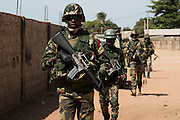 BARRA, GAMBIA - JAN 22: ECOWAS forces patrol Barra town opposite the capital Banjul on 22 January 2017 in Barra, Gambia.