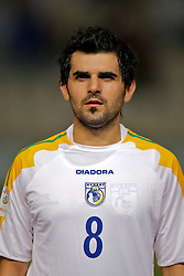 Nicosia, Cyprus - Saturday, October 13, 2007: Cyprus' Marios Elia lines-up to face Wales during the Group D UEFA Euro 2008 Qualifying match at the New GSP Stadium in Nicosia. (Photo by David Rawcliffe/Propaganda)