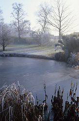 The frozen Horse Pond at Great Dixter in winter