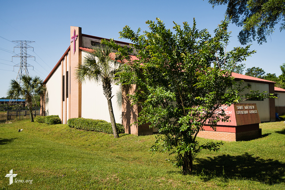 Exterior photograph of St. Matthew Lutheran Church in Pensacola, Fla., on Saturday, May 3, 2014. Torrential rainfall led to widespread flooding in the area earlier in the week. The church suffered extensive water damage in the sanctuary and fellowship hall. LCMS Communications/Erik M. Lunsford
