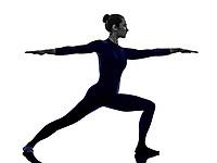 woman exercising Virbhadrasana II warrior pose yoga silhouette shadow white background