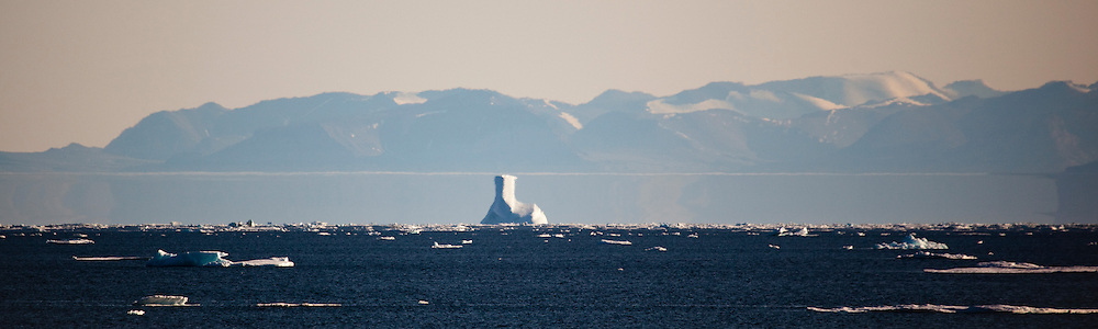 Fata Morgana, or superior mirage, Nares Strait, off the coast of Arctic Greenland.
