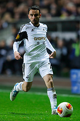 Swansea Midfielder Leon Britton (ENG) in action - Photo mandatory by-line: Rogan Thomson/JMP - Tel: 07966 386802 - 20/02/2014 - SPORT - FOOTBALL - Liberty Stadium, Swansea -  Swansea City v SSC Napoli - UEFA Europa League, Round of 32, First Leg.