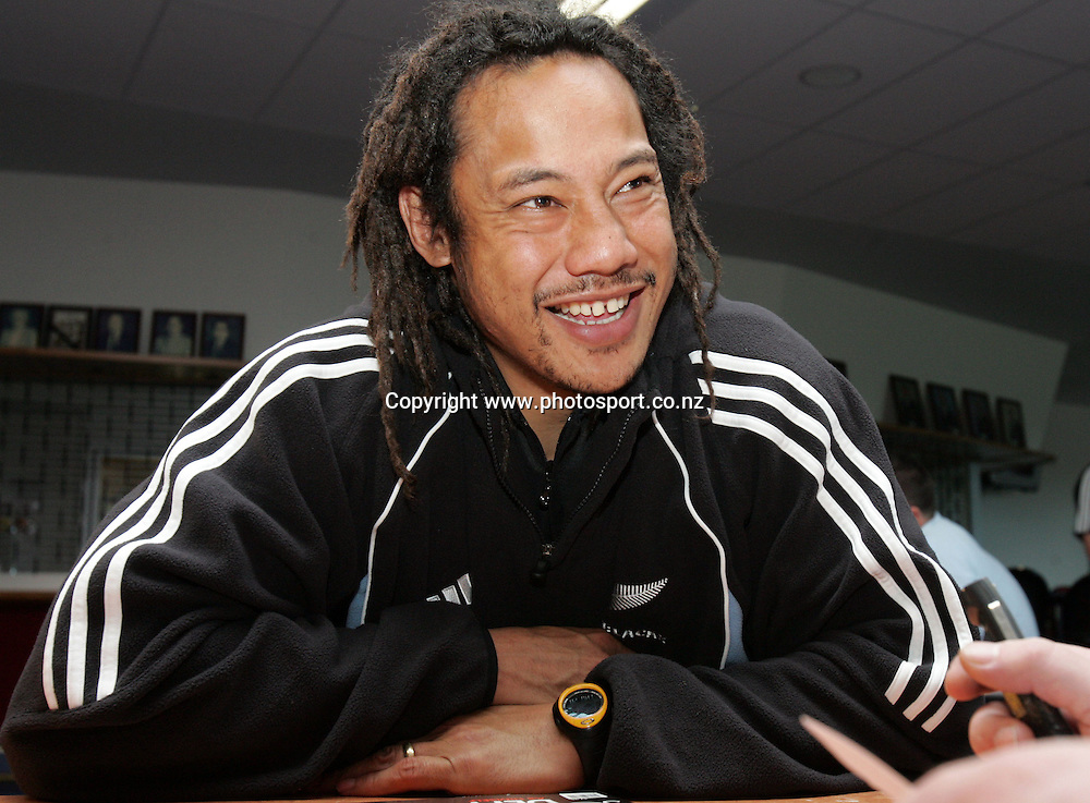 All Black captain Tana Umaga is interviewed after training at Waitakere Stadium, Waitakere, Auckland, New Zealand on Thursday 28 July, 2005. Photo: Hannah Johnston/PHOTOSPORT<br />