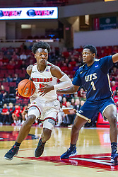 NORMAL, IL - November 29: DJ Horne defended by Keymonta Johnson during a college basketball game between the ISU Redbirds and the Prairie Stars of University of Illinois Springfield (UIS) on November 29 2019 at Redbird Arena in Normal, IL. (Photo by Alan Look)