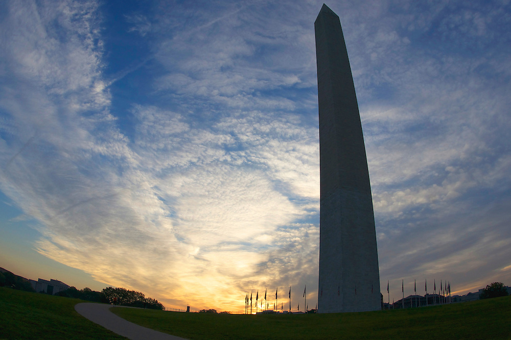 The Washington Monument is an obelisk or four sided pointed pillar located at the National Mall in Washington D.C.  It was built to commemorate America's first president, George Washington.