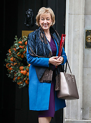 © Licensed to London News Pictures. 17/12/2019. London, UK. Andrea Leadsom Business Secretary leaves Downing Street after the first Cabinet meeting with Prime Minister Boris Johnson. Photo credit: Alex Lentati/LNP