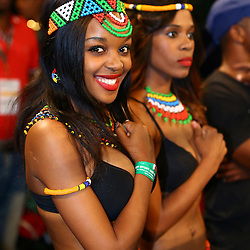"DURBAN, SOUTH AFRICA - MAY 16: Ring girls during the WBC Eliminator bout bout between Thabiso ""THE ROCK"" Mchunu and Ilunga ""JUNIOR"" Makabu at Inkosi Albert Luthuli ICC on May 16, 2015 in Durban, South Africa. (Photo by Steve Haag)"