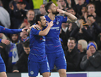 Football - 2018 / 2019 UEFA Europa League - Round of Sixteen, First Leg: Chelsea vs. Dynamo Kiev<br /> <br /> Pedro of Chelsea celebrates scoring his first half goal with Olivier Giroud, at Stamford Bridge.<br /> <br /> COLORSPORT/ANDREW COWIE