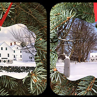 Canterbury Shaker Village Ornament.<br /> Double Sided - Two Photographs Printed on Metal <br /> Proudly Made in USA