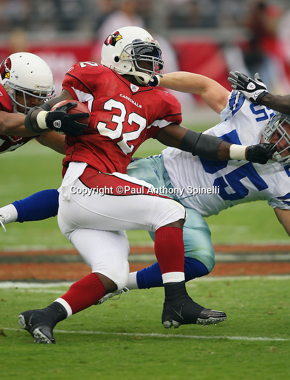GLENDALE, AZ - OCTOBER 12: Running back Edgerrin James #32 of the Arizona Cardinals runs the ball during the game against the Dallas Cowboys at University of Phoenix Stadium on October 12, 2008 in Glendale, Arizona. The Cardinals defeated the Cowboys 30-24. ©Paul Anthony Spinelli *** Local Caption *** Edgerrin James