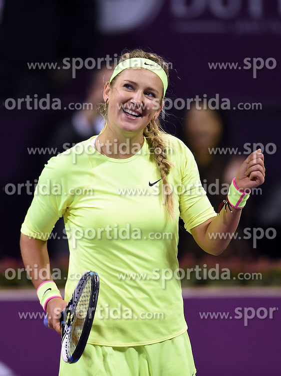 Victoria Azarenka of Belarus celebrates after the first round match against Angelique Kerber of Germany in the WTA Qatar Open tennis tournament in Doha, Qatar, Feb. 23, 2015. Victoria Azarenka won 2-0. EXPA Pictures &copy; 2015, PhotoCredit: EXPA/ Photoshot/ Chen Shaojin<br /> <br /> *****ATTENTION - for AUT, SLO, CRO, SRB, BIH, MAZ only*****