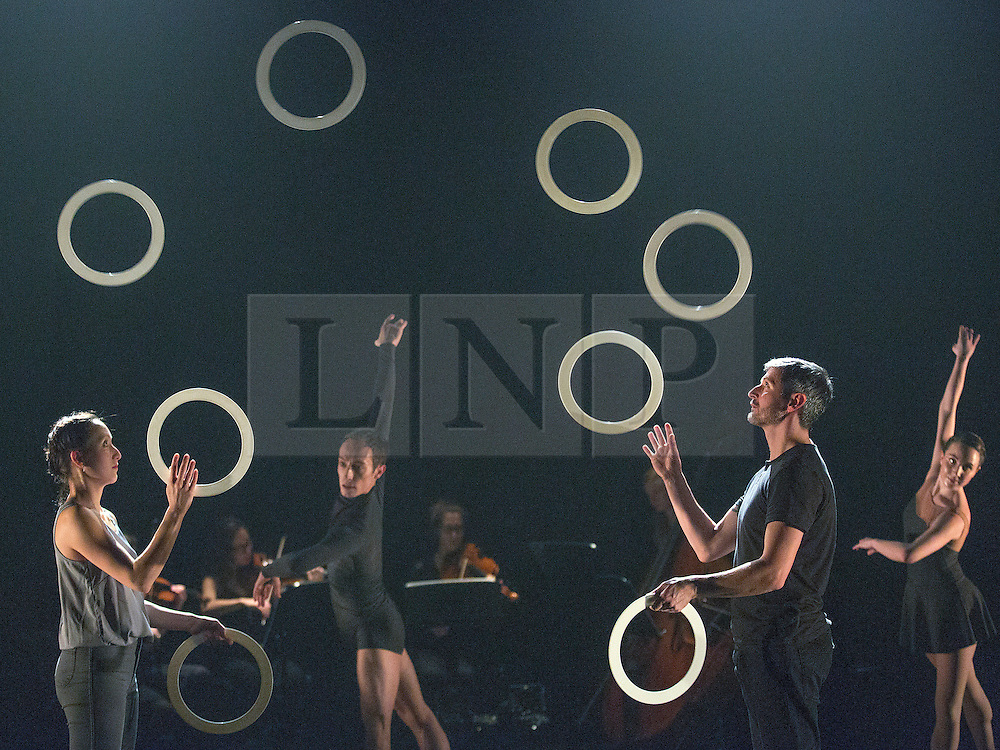 © Licensed to London News Pictures. 13/01/2015. London, England. L-R: Kim Huynh, Kieran Stoneley, Owen Reynolds and Kate Byrne. Dress rehearsal of Gandini Juggling's new show 4 x 4 Ephemeral Architectures. Four classical dancers, choreographed by former Royal Ballet First Artist Ludovic Ondiviela, join four of Gandini's jugglers. World premiere at Linbury Studio Theatre, Royal Opera House, 13 to 15 January 2015. The show is part of the London International Mime Festival and is followed by a UK tour. Dancers: Kieran Stoneley, Kate Byrne, Erion O'Toole and Joe Bishop, jugglers: Kim Huynh, Sakari Männistö, Owen Reynolds and Kati Ylä-Hokkala. Photo credit: Bettina Strenske/LNP