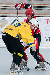 Ales Remar of HK Prevoje vs Ziga Svete of Troha Pub Bled at final match of IZS Masters 2011 inline hockey between Troha Pub Bled and HK Prevoje, on June 4, 2011 in Sportni park, Horjul, Slovenia. (Photo by Matic Klansek Velej / Sportida)