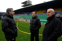 Physiotherapists of Slovenian football team Khalid Nasif and Tomaz Savnik and Franc Kopatin during practice session of Slovenia National football team One day before EURO 2012 Quaifications game between National teams of Slovenia and Northern Ireland, on March 28, 2011, in Windsor Park Stadium, Belfast, Northern Ireland, United Kingdom. (Photo by Vid Ponikvar / Sportida)