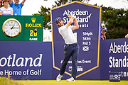 Romain Wattel (FRA) drives on the 1st hole during the final round of the Aberdeen Standard Investments Scottish Open at The Renaissance Club, North Berwick, Scotland on 14 July 2019.