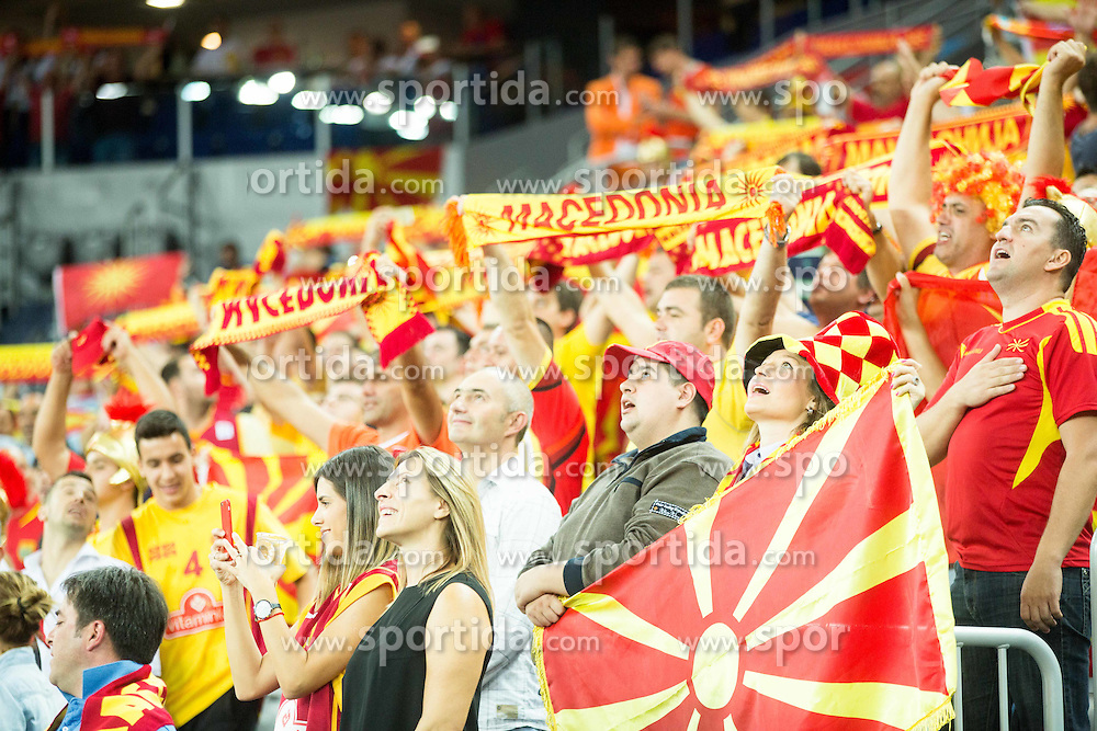 Supporters of Macedonia during basketball match between FYR of Macedonia and Greece at Day 1 in Group C of FIBA Europe Eurobasket 2015, on September 5, 2015, in Arena Zagreb, Croatia. Photo by Vid Ponikvar / Sportida