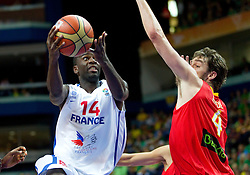 Steed Tchicamboud of France vs Pau Gasol of Spain during basketball game between National basketball teams of France and Spain at FIBA Europe Eurobasket Lithuania 2011, on September 11, 2011, in Siemens Arena,  Vilnius, Lithuania.  (Photo by Vid Ponikvar / Sportida)