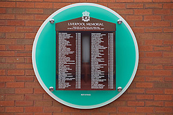 LIVERPOOL, ENGLAND - Thursday, May 5, 2016: Liverpool's temporary memorial to the 96 victims of the Hillsborough disaster, pictured ahead of the UEFA Europa League Semi-Final 2nd Leg match against Villarreal at Anfield. (Pic by David Rawcliffe/Propaganda)