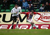 Fotball, 26. april 2003, Tippeligaen, Sogndal-Tromsø 3-1. Arne Vidar Moen, Tromsø, og Anders Stadheim, Sogndal