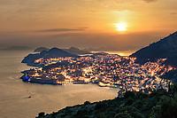 Dubrovnik Riviera bei Sonnenuntergang. Die Dubrovnik Riviera erstreckt sich von der Mündung des Flusses Neretva bis zum Kap Ostro am Süden von Kroatien.