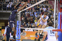 December 16, 2017 - Krakow, Poland - Maxim Mikhaylov  (18) of VC Zenit Kazan in action against two of  Sada Cruzeiro Volei  during the match between Sada Cruzeiro Volei and VC Zenit kazan during the semi finals of Volleyball Men's Club World Championship 2017 in Tauron Arena. (Credit Image: © Omar Marques/SOPA via ZUMA Wire)