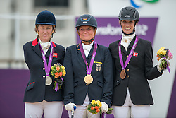 Deborah Criddle (GBR, Silver), Hannalore Brenner (GER, Gold) and Annika Dalskov (DEN, Bronze) on the podium<br /> Individual Championship Test - Grade Ia<br /> London 2012 Paralympic Games<br /> © Hippo Foto - Jon Stroud