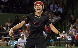 March 26, 2018 - Miami, Florida, United States - Alexander Zverev, from Germany,  celebrating his victory against David Ferrer, from Spain, for the third round at the Miami Open. Zverev defeated ferrer 2-6, 62, 6-4 in Key Biscayne, on March 26, 2018. (Credit Image: © Manuel Mazzanti/NurPhoto via ZUMA Press)