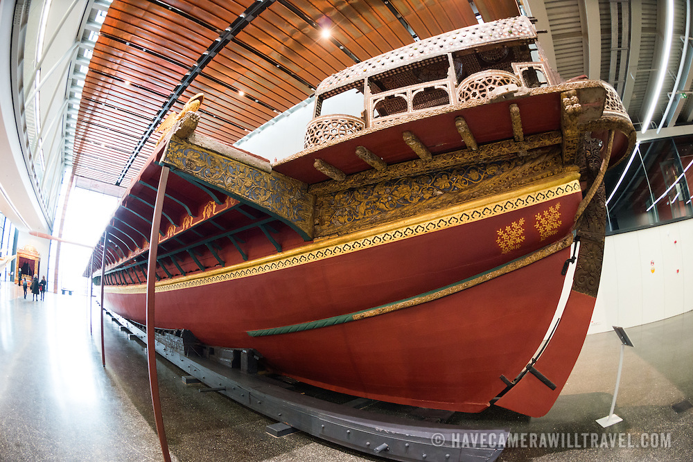 "Known as ""The Historical Galley"", this combination of rowing and sailing ship is the oldest surviving galley in the world. Used by Turkish sultans for transportation and ceremonies she does not feature any cannons or other military features. Her kiosk, on the stern, is believed to have been build during the reign of Sultan Mehmet III (1595-1603). She has 24 pairs of oars, for 144 oarsman, is nearly 40 meters long, and weighs over 57 tons. She is constructed of nine types of trees: iron oak, cedar, elm, beech, sycamore, ash, boxwood, black pine, and walnut. The golden dragons next to the kiosk are symbols of the Byzantine empire. The Istanbul Navy Museum dates back over a century but is now housed in a new purpose-built building on the banks of the Bosphorus. While ostensibly relating to Turkish naval history, the core of its collection consists of 14 imperial caiques, mostly from the 19th century, that are displayed on the main two floors of the museum."