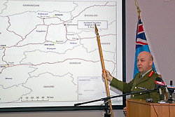 Chief of Defence Staff, Lieutenant General Rhys Jones shows the attack Location at a media conference following the death of two Kiwi Soldiers and several casualties from the Provincial Reconstruction Team in an incident north-east of Bamiyan Province, Afghanistan, Whenuapai Airbase, Auckland, New Zealand, Sunday, August 05, 2012.  Credit:SNPA / David Rowland