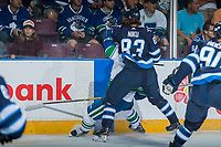 PENTICTON, CANADA - SEPTEMBER 8: Sami Niku #83 of Winnipeg Jets checks a player of the Vancouver Canucks on September 8, 2017 at the South Okanagan Event Centre in Penticton, British Columbia, Canada.  (Photo by Marissa Baecker/Shoot the Breeze)  *** Local Caption ***