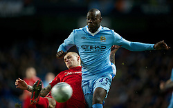 11.01.2012, Etihad Stadion, Manchester, ENG, Carling Cup, Manchester City vs FC Liverpool, Halbfinale, im Bild Liverpool's Martin Skrtel in action against Manchester City's Mario Balotelli during the football match of English Carling Cup, Halffinal, between Manchester City and FC Liverpool at Etihad Stadium, Manchester, United Kingdom on 2012/01/11. EXPA Pictures © 2012, PhotoCredit: EXPA/ Propagandaphoto/ David Rawcliff..***** ATTENTION - OUT OF ENG, GBR, UK *****